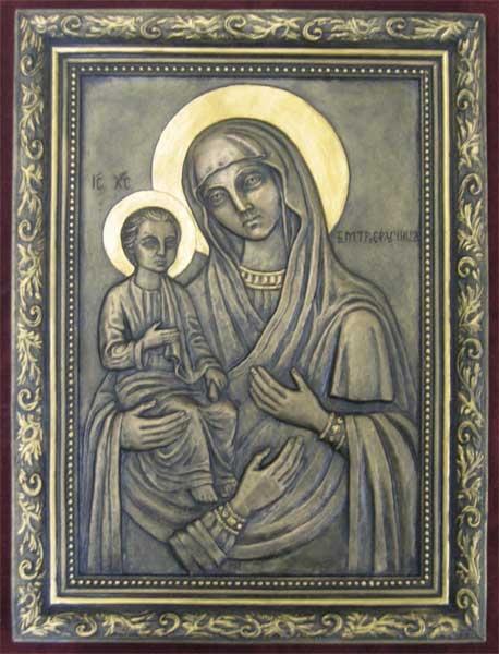 Рельефная икона «БогоматерьТроеручица»